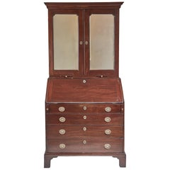 18th Century Georgian Antique Mahogany Bureau Bookcase
