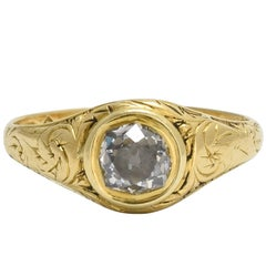 18th Century Georgian Cushion Cut Diamond Solitaire Gold Ring