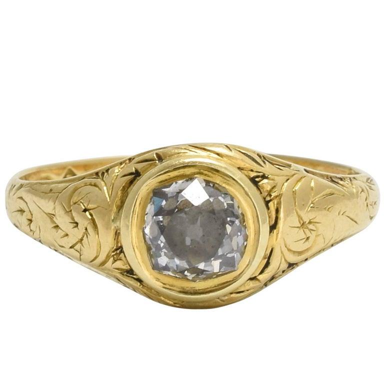 18th Century Georgian Cushion Cut Diamond Solitaire Gold Ring