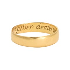 "18th Century Georgian Gold Posy Ring ""Rather death then faulse of faythe"""