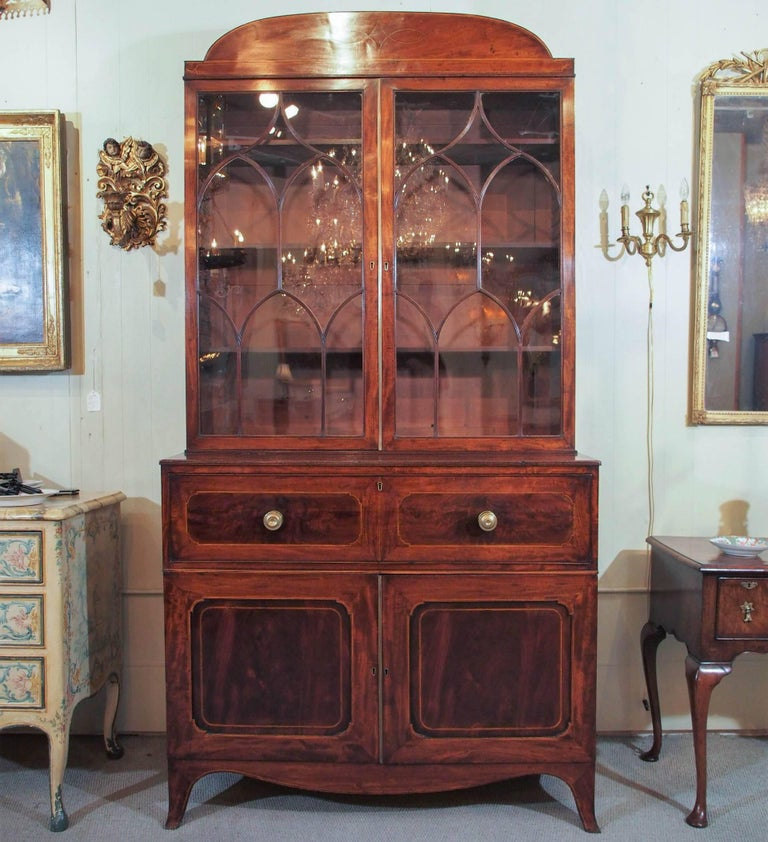 18th century English George III mahogany and satinwood secretaire-bookcase.