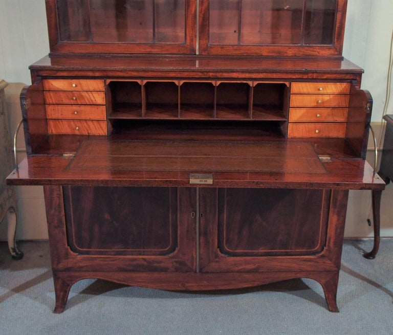 18th Century Georgian Mahogany and Satinwood Secretaire For Sale 1