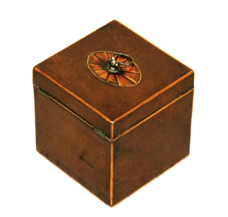 18th Century Georgian Mahogany English Square Tea Caddy For Sale 1
