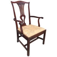18th Century Georgian Mahogany High Back Armchair