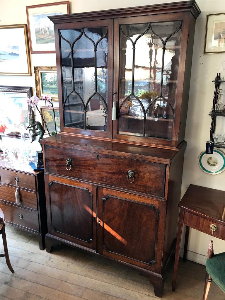 British 18th Century Georgian Mahogany Secrétaire Bookcase and Cupboard For Sale