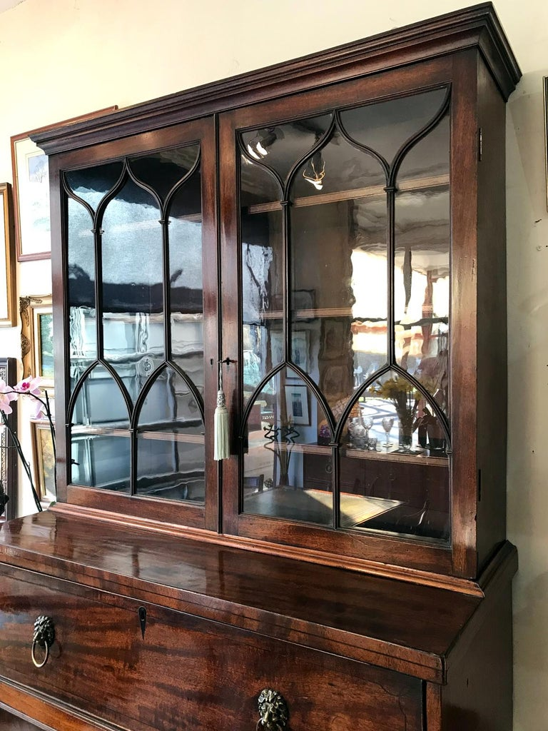 18th Century Georgian Mahogany Secrétaire Bookcase and Cupboard In Good Condition For Sale In Richmond, London, Surrey
