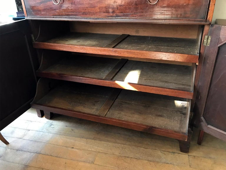 18th Century and Earlier 18th Century Georgian Mahogany Secrétaire Bookcase and Cupboard For Sale