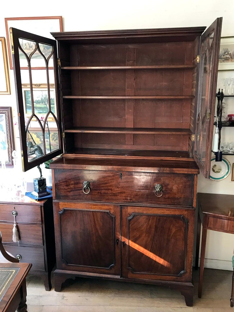 18th Century Georgian Mahogany Secrétaire Bookcase and Cupboard For Sale 2