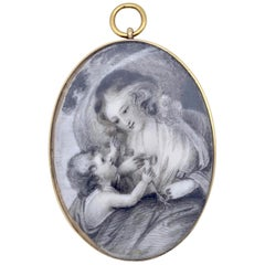 18th Century Georgian Mother Child Grisaille Miniature Drawing Gold Pendant