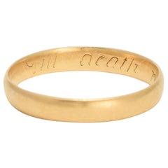 "18th Century Georgian Posy Ring ""til death noe change"""