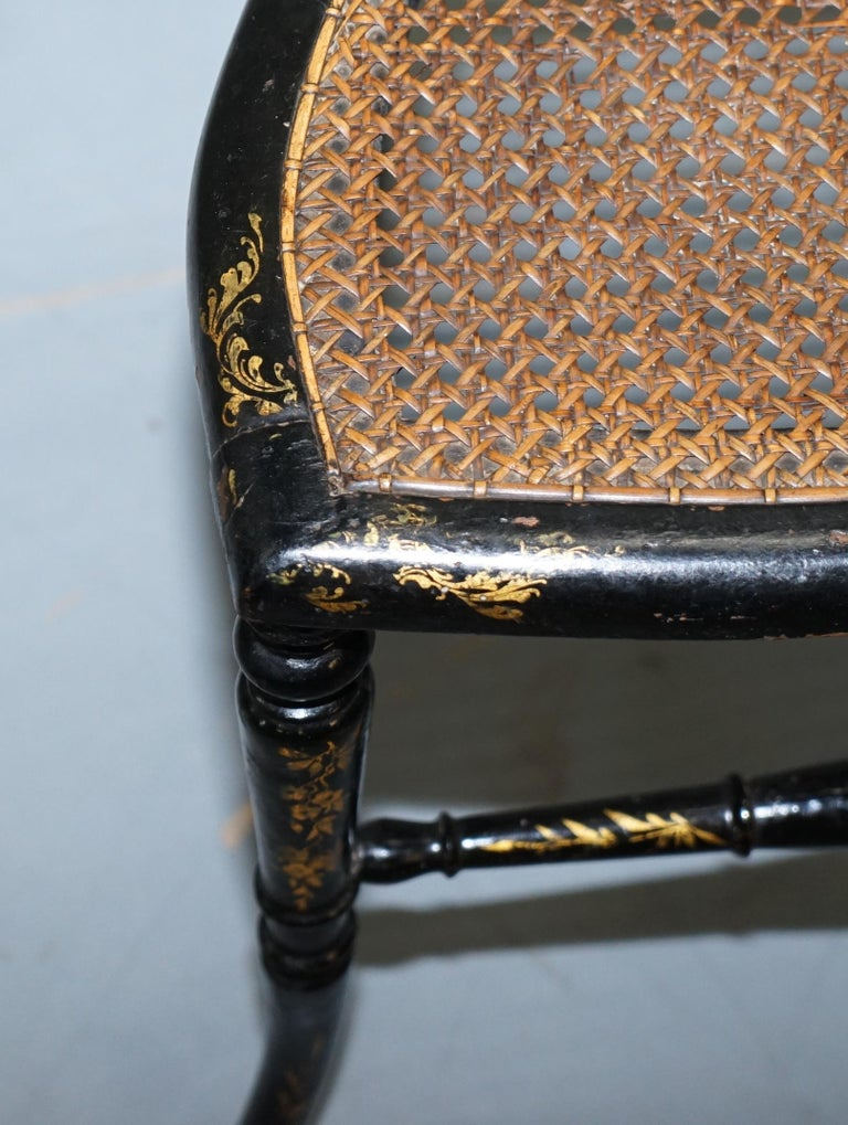 18th Century Georgian Rare Floral Hand Painted Chinoiserie Ebonised Chair For Sale 2