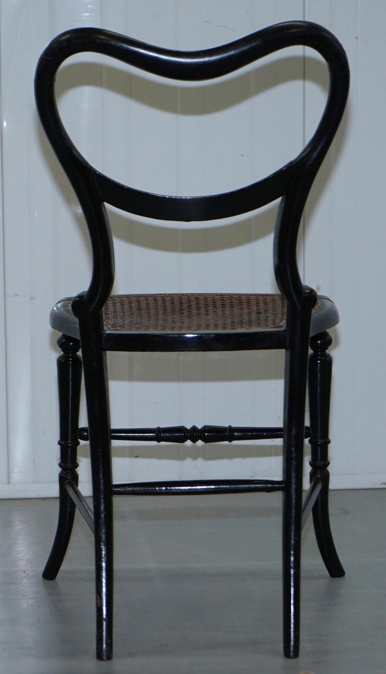 18th Century Georgian Rare Floral Hand Painted Chinoiserie Ebonised Chair For Sale 6