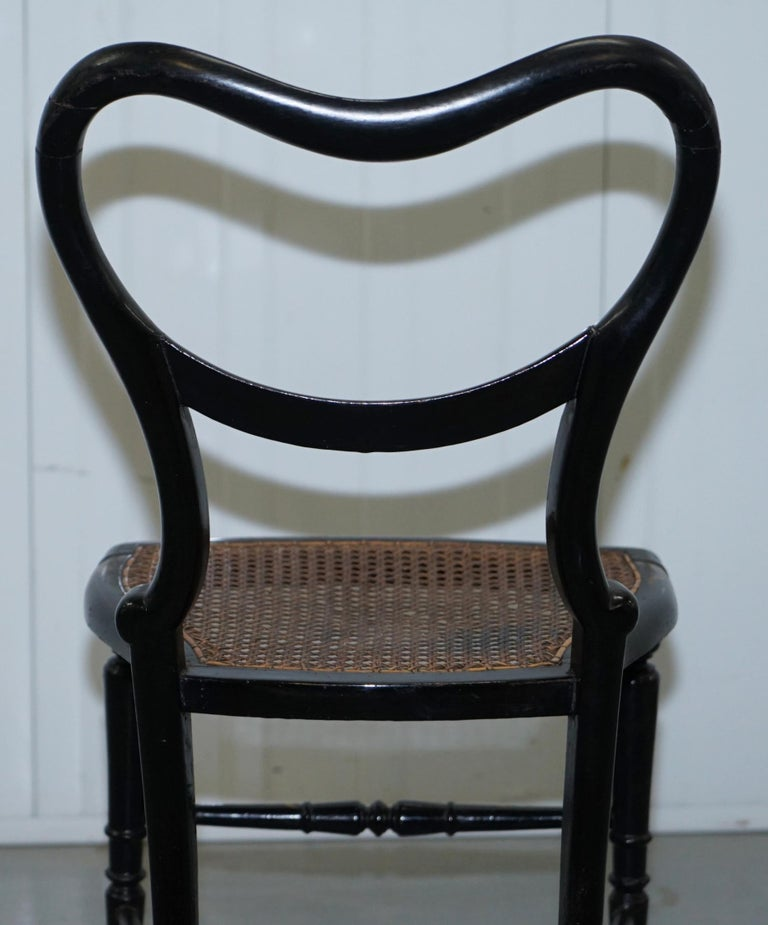 18th Century Georgian Rare Floral Hand Painted Chinoiserie Ebonised Chair For Sale 7