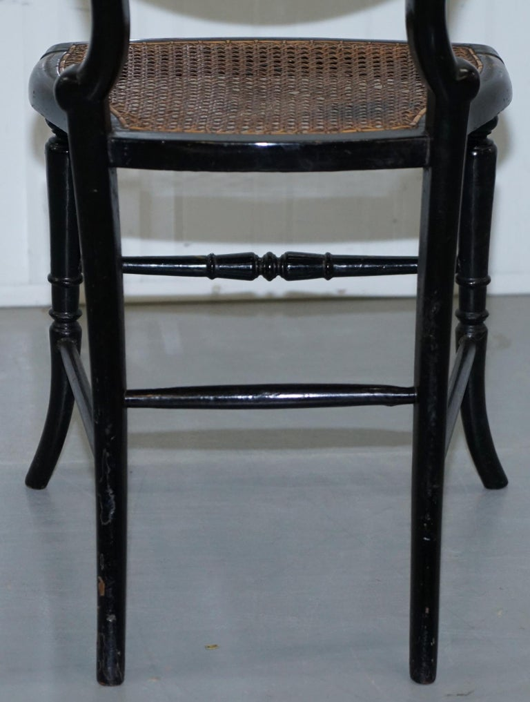 18th Century Georgian Rare Floral Hand Painted Chinoiserie Ebonised Chair For Sale 8