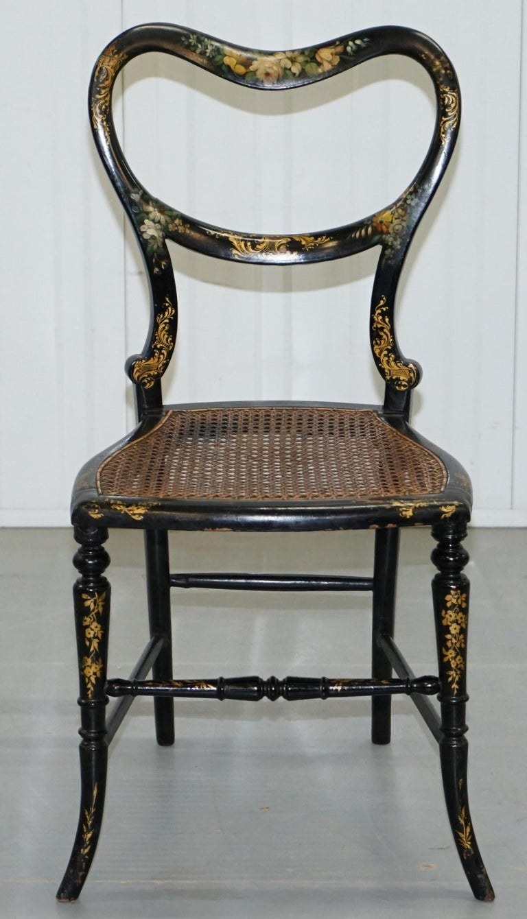 We are delighted to offer for sale this lovely mid-18th century George III style chinoiserie black ebonised occasional chair made in the very early Victorian era, circa 1840.  I absolutely love this chair, it is a very rare find, the paint work is