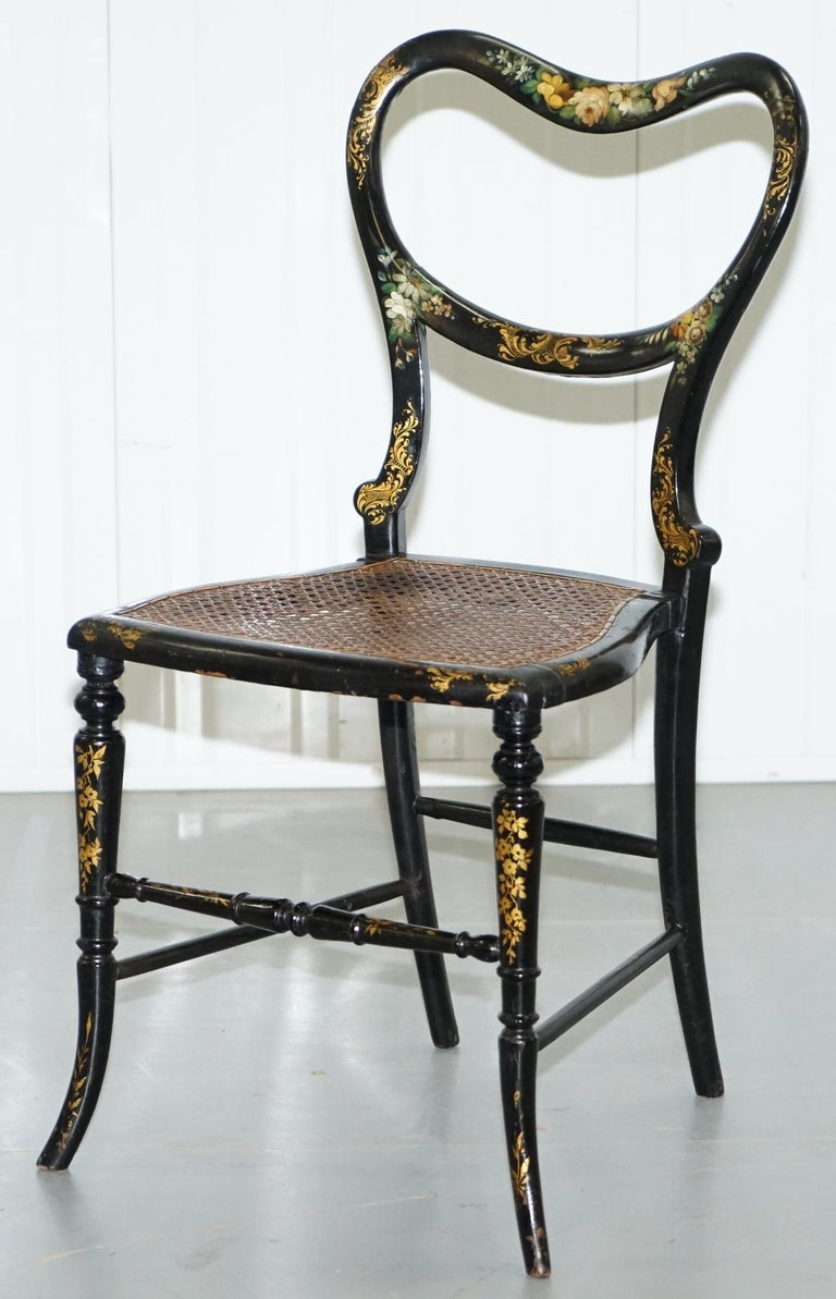 George III 18th Century Georgian Rare Floral Hand Painted Chinoiserie Ebonised Chair For Sale
