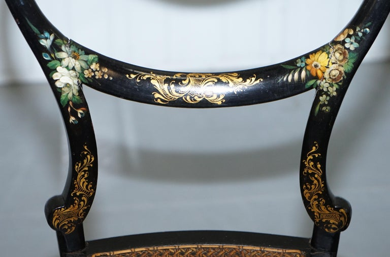 Wood 18th Century Georgian Rare Floral Hand Painted Chinoiserie Ebonised Chair For Sale