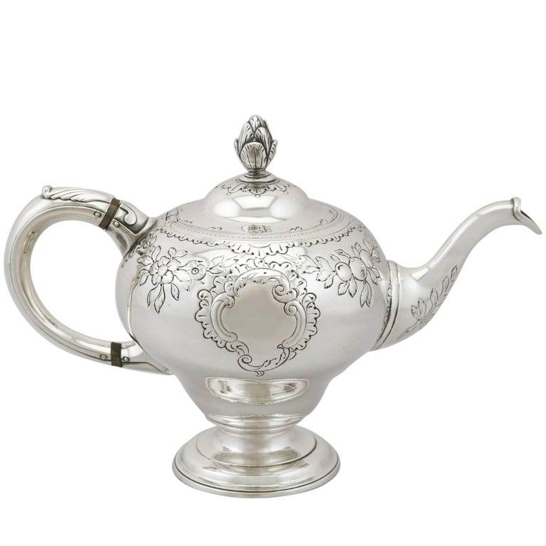 18th Century Georgian Scottish Sterling Silver Teapot