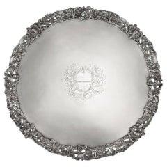 18th Century Georgian Silver Salver Tray, Arthur Annesley, circa 1760