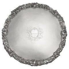 18th Century Georgian Solid Silver Salver Tray, Arthur Annesley, circa 1760