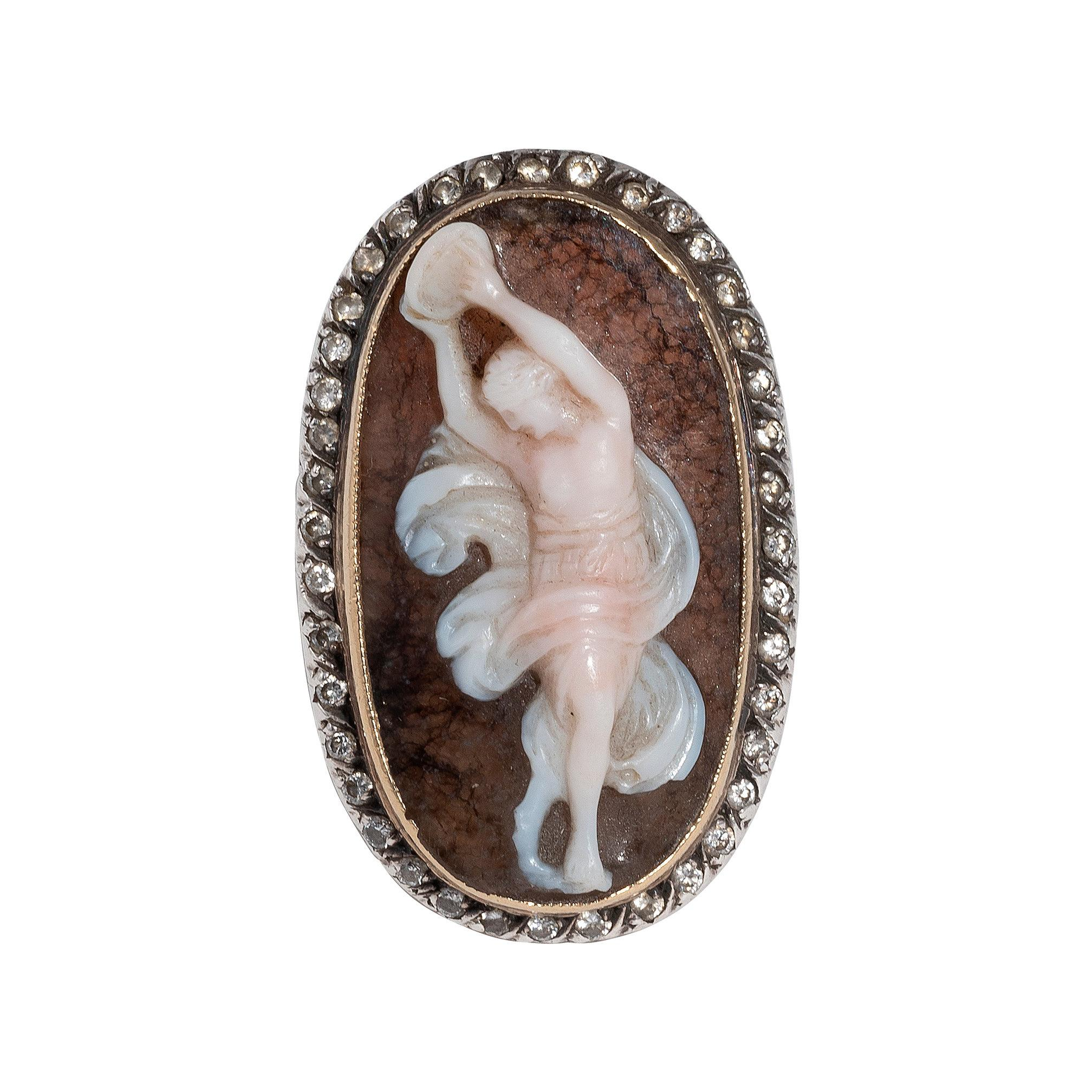 18th Century Georgian Yellow Gold Silver Diamond and Agate Cameo Ring