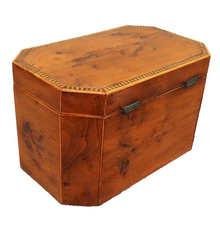 George III 18th Century Georgian Yew Wood Octagonal Tea Caddy For Sale