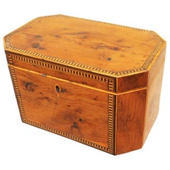 18th Century Georgian Yew Wood Octagonal Tea Caddy