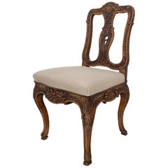 18th Century German Baroque Chair in Carved Walnut, circa 1740