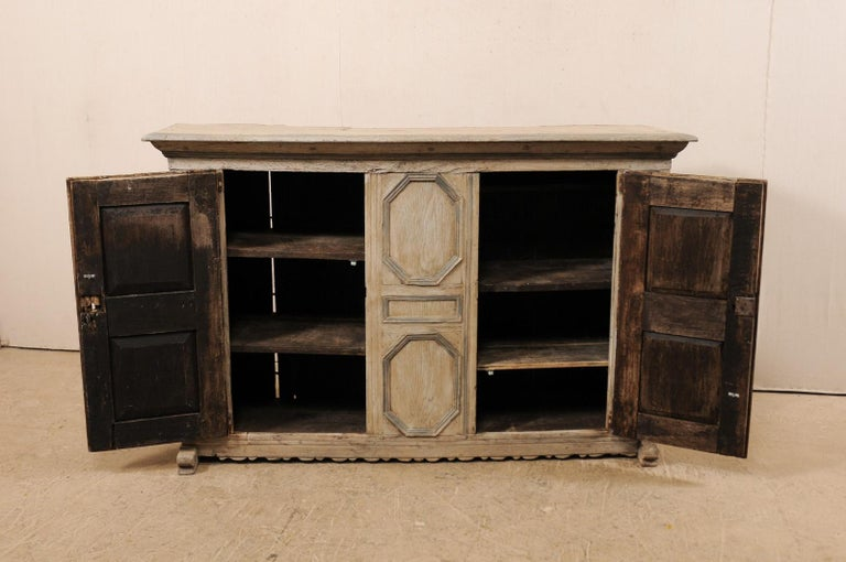 18th Century German Carved and Painted Wood Sideboard Cabinet For Sale 5