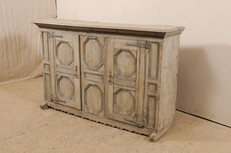 18th Century and Earlier 18th Century German Carved and Painted Wood Sideboard Cabinet For Sale