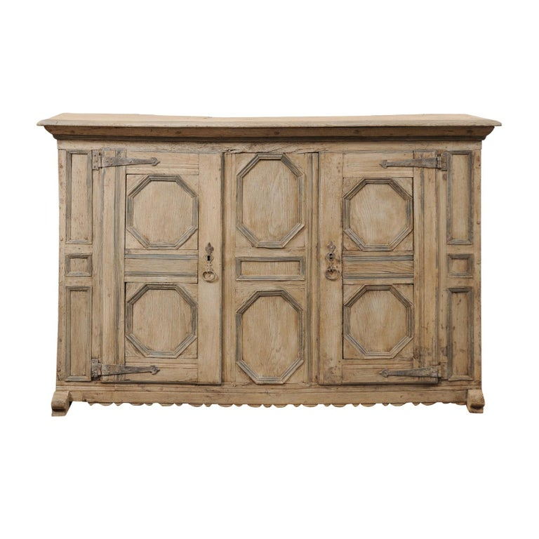 18th Century German Carved and Painted Wood Sideboard Cabinet For Sale
