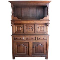 18th Century German Court Cupboard w/ Drawers & Panel Doors