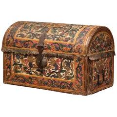 18th Century German Gothic Painted Decorative Bombe Box Wedding Trunk
