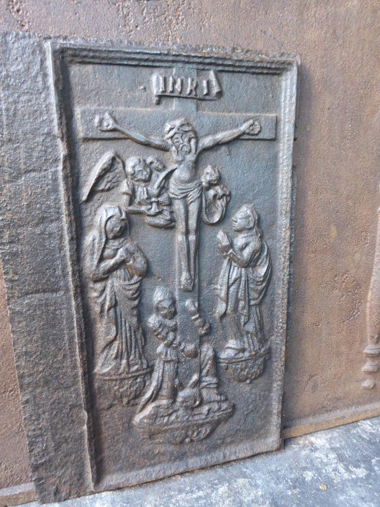 Cast 18th Century German Gothic Style Fireback For Sale
