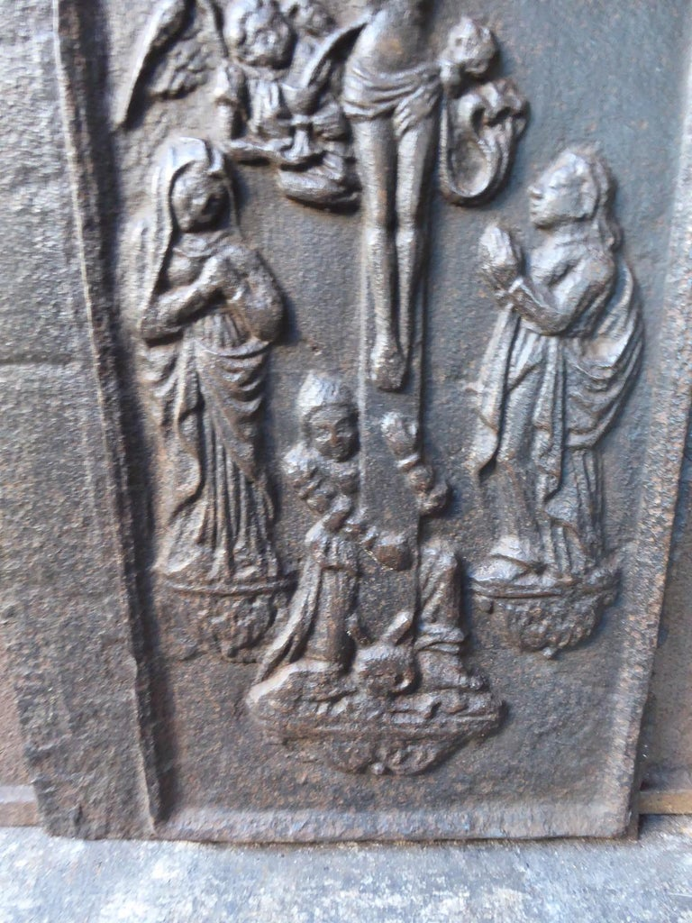 Iron 18th Century German Gothic Style Fireback For Sale