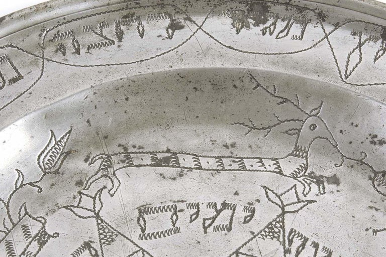 Engraved 18th Century German Pewter Passover Plate For Sale