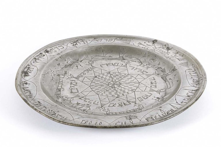18th Century German Pewter Passover Plate For Sale 3