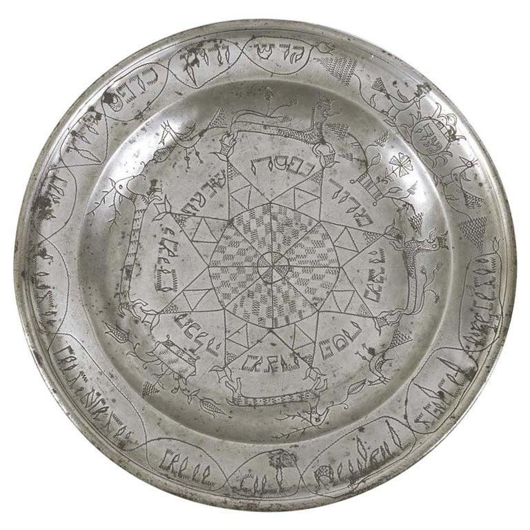 18th Century German Pewter Passover Plate For Sale