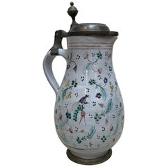18th Century German Polychrome Enghals Krug Jug