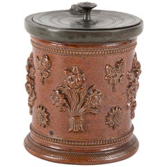 18th Century German Salt Glaze Tobacco Jar with Pewter Mounts
