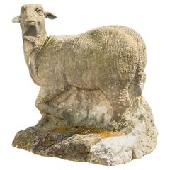 18th Century German Sheep in Hand Carved Sandstone