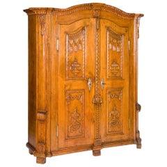 18th Century German Wardrobe, Cupboard, Carved Limewood, Louis XVI, circa 1790