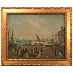 18th Century Giacomo Guardi Old Master Painting of Venetian Lagoon, Provenance