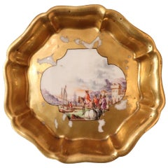 18th Century Gilded Collectible Antique Porcelain Plate Meissen, 1720s