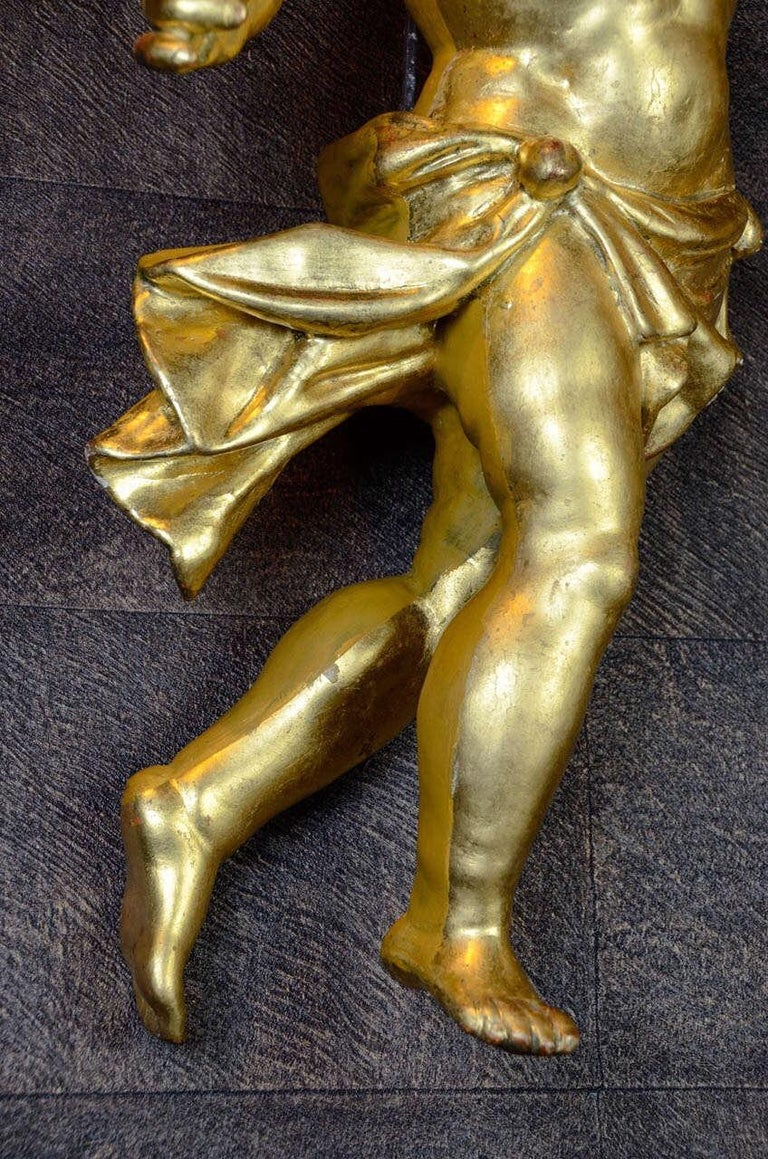 18th Century Gilded Hand Carved Wood Italian Pair of Putti, 1780 For Sale 3