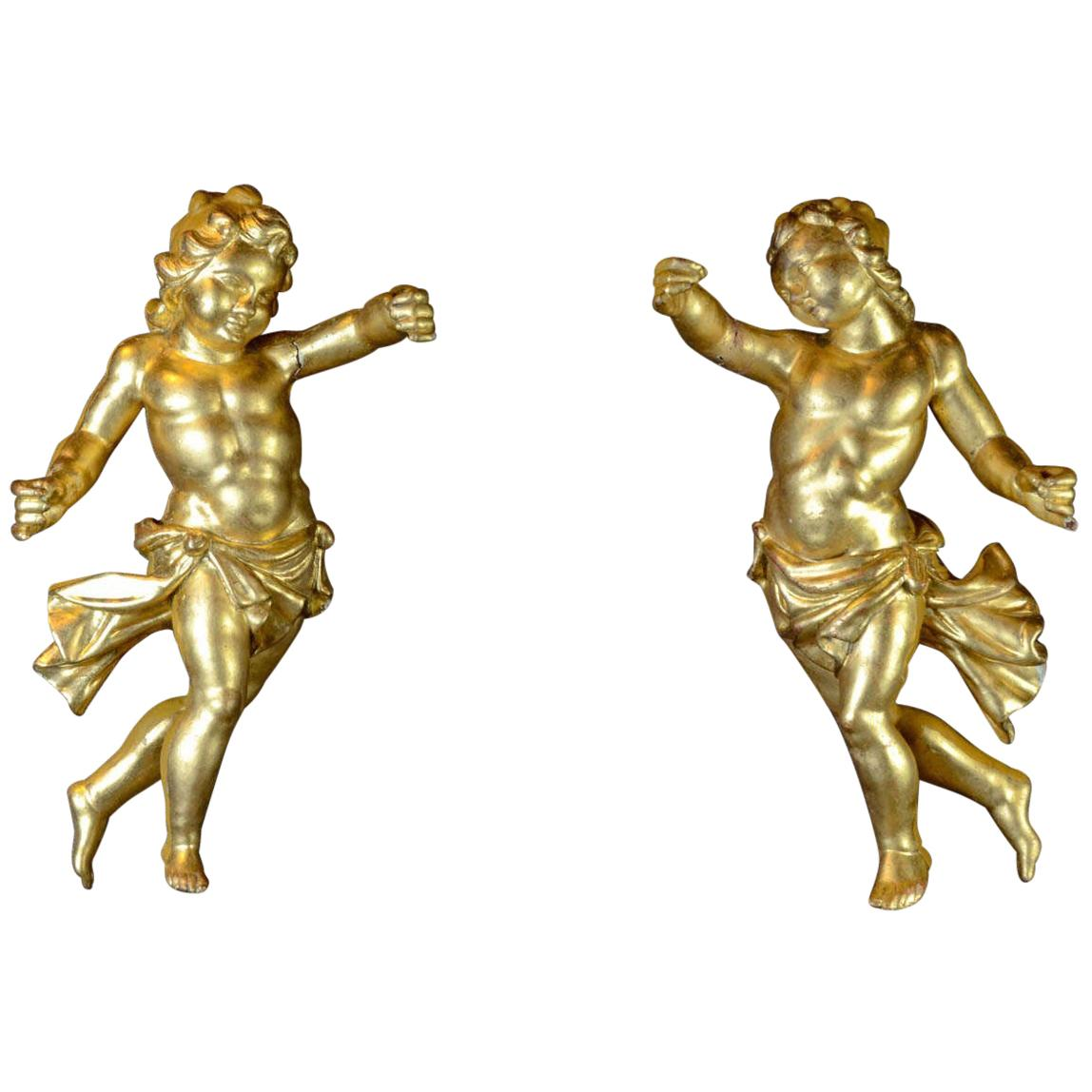 18th Century Gilded Hand Carved Wood Italian Pair of Putti, 1780