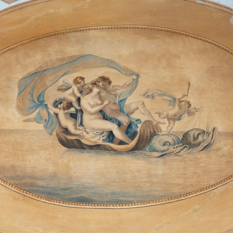 18th Century Gilt and White Gesso Table with Painted Top Depicting Venus For Sale 1