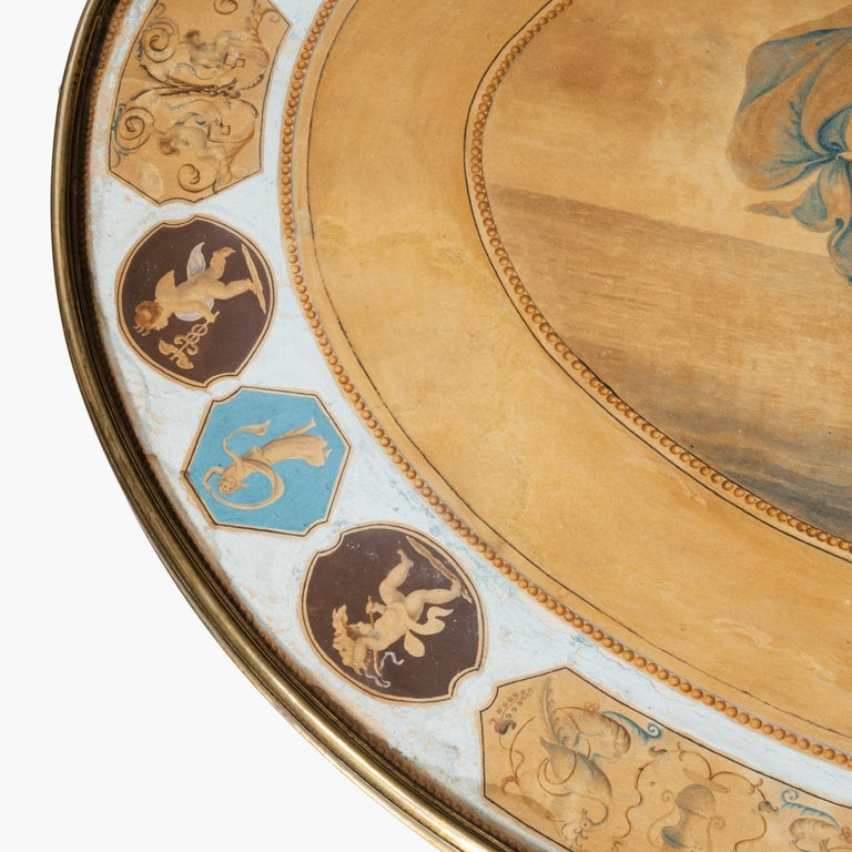 18th Century Gilt and White Gesso Table with Painted Top Depicting Venus For Sale 2
