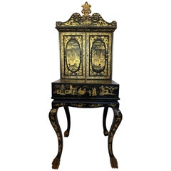 18th Century Gilt Black Lacquer Chinese Ladies Dressing Chest