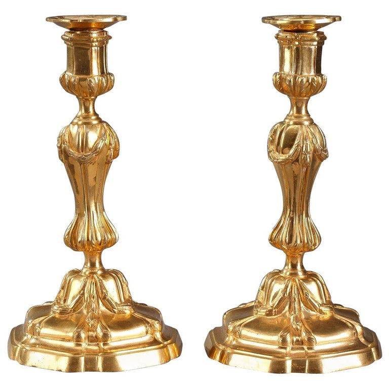 18th Century Gilt Bronze Table Candelabra Centrepieces 1